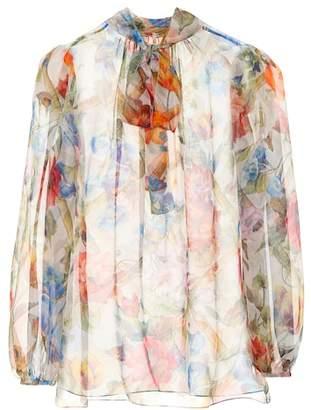 Dolce & Gabbana Floral-printed silk chiffon blouse