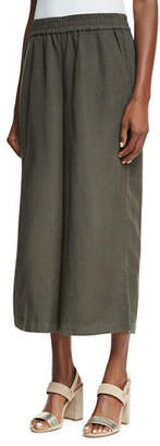 Eileen Fisher Elastic-Waist Wide Cropped Pants $178 thestylecure.com