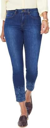 NYDJ Ami Floral Detail Skinny Ankle Jeans