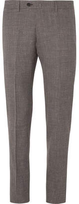 Caruso Brown Slim-fit Micro-checked Wool, Silk And Linen-blend Suit Trousers - Brown