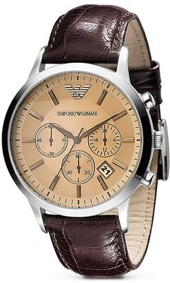 Emporio Armani Quartz Chronograph Brown Leather Watch, 43 mm
