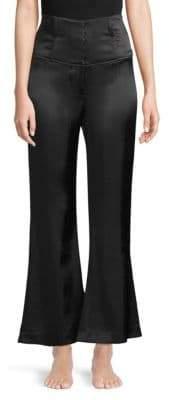 Fleur Du Mal Corset Wide-Leg Silk Pants