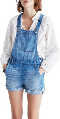 Women's Madewell Short Denim Overalls $118 thestylecure.com