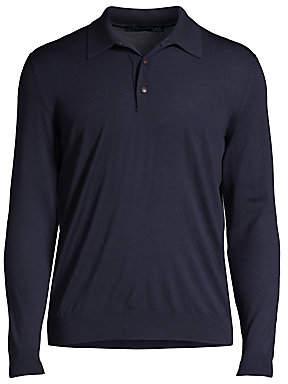 Kiton Men's Long-Sleeve Cotton Polo Top