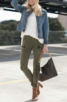 Grace & Lace Olive Cargo-Style Jeggings