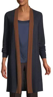 Eileen Fisher Contrast-Trim Side-Slit Cardigan