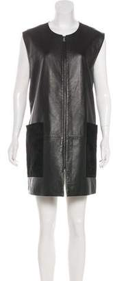 Neiman Marcus Leather Sleeveless Dress