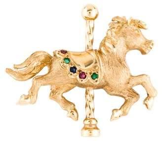 14K Ruby, Emerald, & Sapphire Carousel Horse Brooch