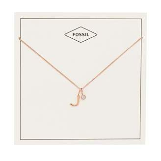 Fossil Women's Letter J -Tone Stainless Steel Necklace