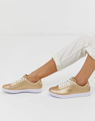 Lacoste lace up trainer in gold