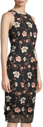 Laundry by Shelli Segal Floral Embroidered Mesh Sheath Dress