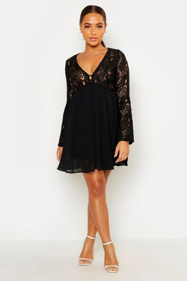 boohoo Corded Lace Button Woven Smock Dress