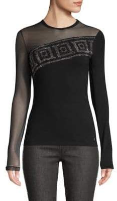Versace Tuelle Sleeve Embellished T-Shirt