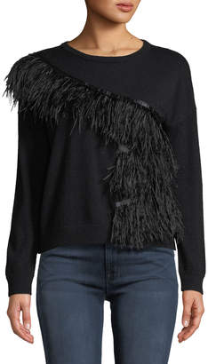 Neiman Marcus Ostrich Feather-Embellished Cashmere Pullover Sweater