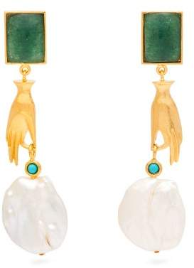 Lizzie Fortunato Gentlewoman Jade And Pearl Earrings - Womens - Green