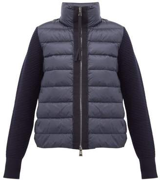 Moncler Knitted Sleeve Quilted Down Jacket - Womens - Navy