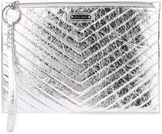 Rebecca Minkoff Large Zip Quilted Metallic Faux-leather Clutch