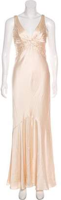 Carmen Marc Valvo Sleeveless Satin Gown