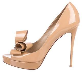 Valentino Patent Leather Bow Pumps