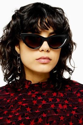 Topshop Womens Cece Black Feline Sunglasses - Black
