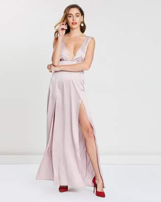 Missguided Plunge Double Split-Front Satin Maxi Dress
