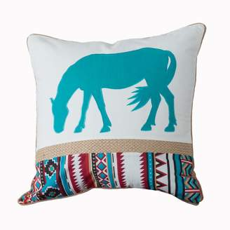 Levtex Turquoise Horse Pillow with Rope Trim