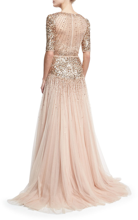 Jenny Packham Beaded Short-Sleeve Tulle Gown 3