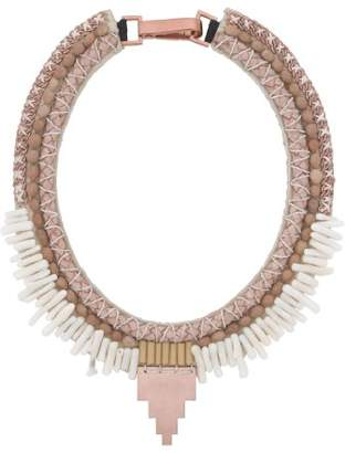 Fiona Paxton Hand Beaded Collar, Brass Chain and Beads on Leather of 42 cm
