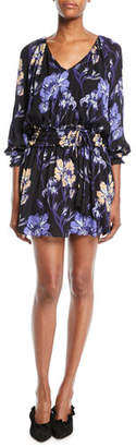 Ramy Brook Milene Floral V-Neck Silk Mini Dress
