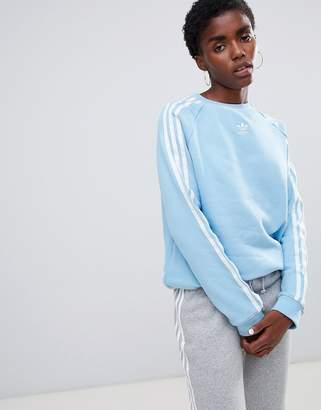 adidas Three Stripe Sweatshirt In Blue