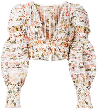 Zimmermann ruched floral cropped top