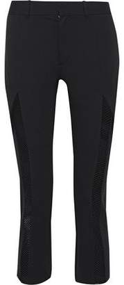 Y-3 Lux Cropped Mesh-Paneled Stretch-Knit Straight-Leg Pants