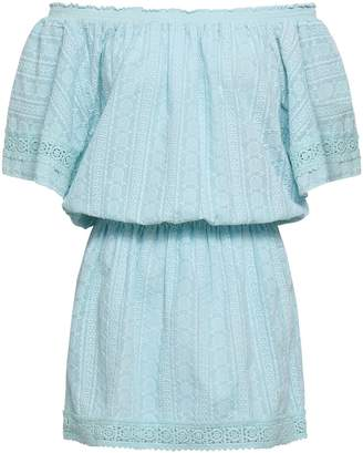 Melissa Odabash Michelle Off-the-shoulder Embroidered Cotton-gauze Coverup