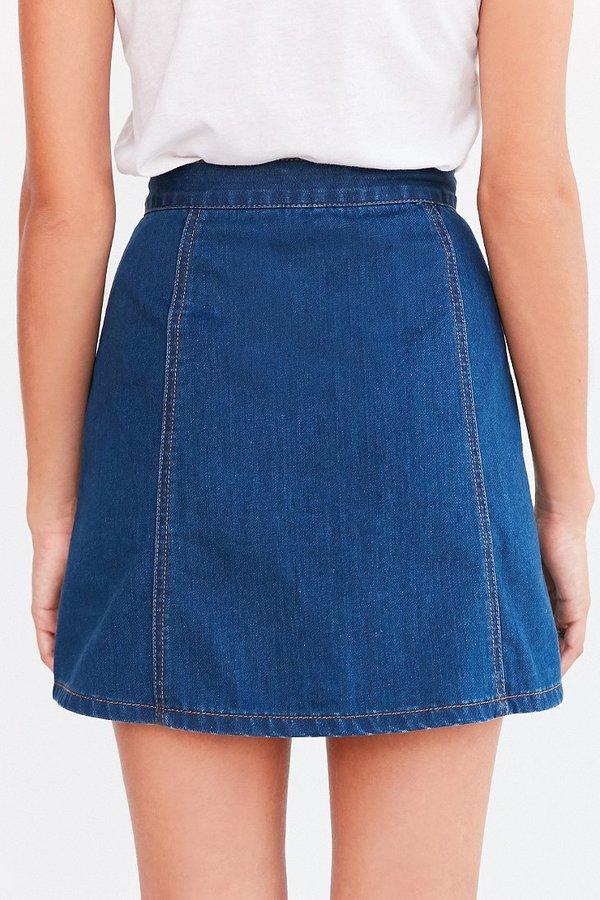 bdg denim button front skirt shopstyle