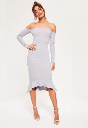 Missguided Grey Bardot Fishtail Hem Dress, Grey