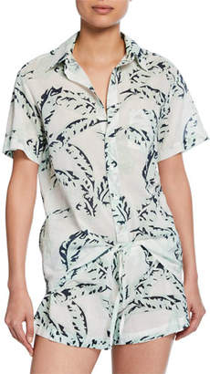 Pour Les Femmes Banana Leaves Shorty Two-Piece Pajama Set