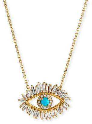 Suzanne Kalan 18k Diamond & Turquoise Evil Eye Pendant Necklace