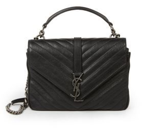Saint Laurent Medium College Monogram Matelasse Leather Shoulder Bag $2,450 thestylecure.com