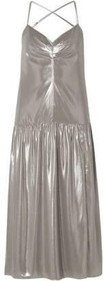 Mason by Michelle Mason Open-back Lame Midi Slip Dress