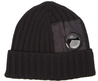 C.P. Company Black Wool Hat With Applied Lens Detail