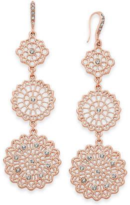 INC International Concepts I.N.C. Rose Gold-Tone Filigree Triple Drop Earrings, Created for Macy's