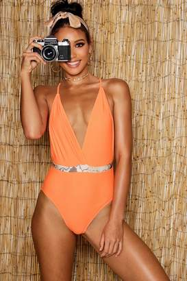 boohoo Neon Snake Belted Swimsuit