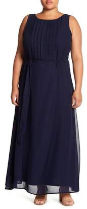 Sharagano Sleeveless Pleated Maxi Dress (Plus Size)