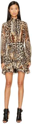 Just Cavalli Long Sleeve Mixed Animal Print Dress Women's Dress