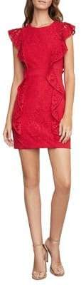 BCBGMAXAZRIA Ruffled Lace Sheath Dress