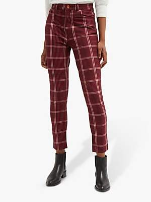 French Connection Tilly Check Skinny Jeans, Rosso Red