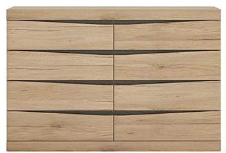 Furniture To Go 4 Plus 4 Wide Chest of Drawers, Wood, Oak