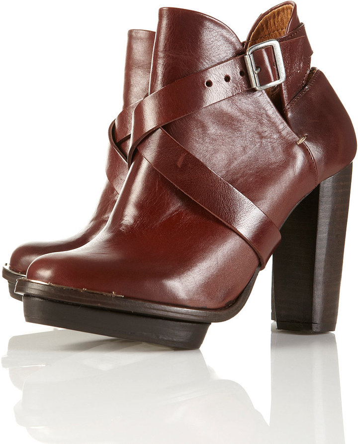 PORTABELLO Tan Strap Metal Detail Ankle Boots
