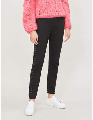 Wildfox Couture Track Glitz embellished cotton-blend jogging bottoms