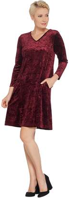 Bob Mackie Bob Mackie's Crushed Velvet Flare Dress with Pockets